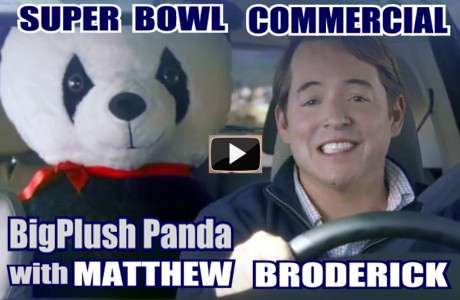 Matthew Broderick with BigPlush.com 54-inch stuffed panda, as featured in Super Bowl 2012 commercial for Honda.