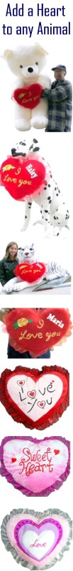 All products give you the option to have a heart pillow attached to your animal. In addition, you can have us PERSONALIZE a NAME on the attached heart by clicking here to see the ACCESSORIES section of the PERSONALIZATION catagory