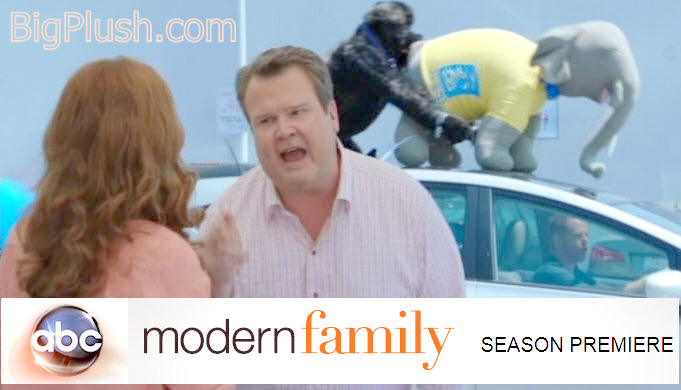 The ABC TV sitcom Modern Family's Season Premiere for 2012 featured two BigPlush.com giant stuffed animals having fun on top of a car.