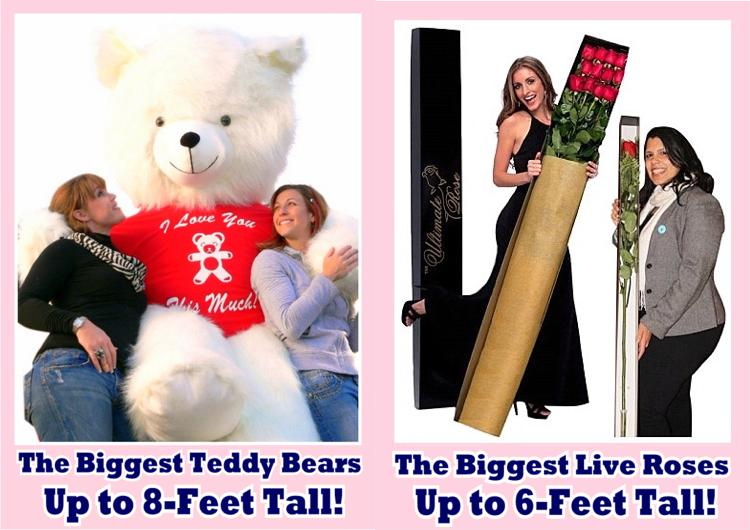 Celebrate Valentine's Day BIG-TIME! Hundreds of Giant Personalized Valentine Teddy Bears and Valentine's Day Stuffed Animals made in the USA! Order NOW, before the best stuff sells out!