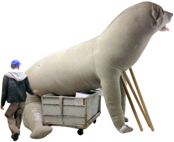 Big stuffed dog 18-feet tall initial prototype - made in the USA!