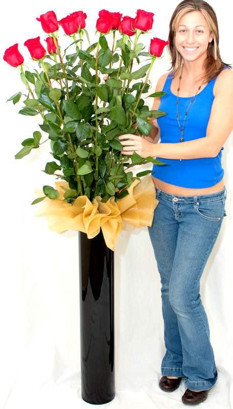 These giant, real 6 Foot roses are delivered in a 6-foot long box with 32-inch glossy black vase and free gift card message