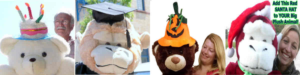 Dress-up your big plush animal in a custom HAT that can be easily detached later on!