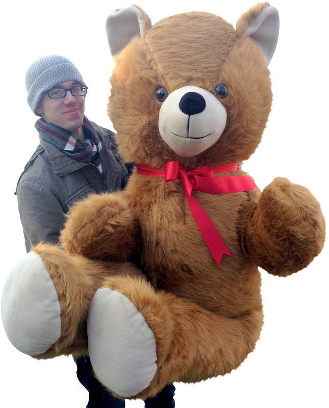 Giant teddy bears like this 6-foot bear at BigPlush.com are personalized for free!